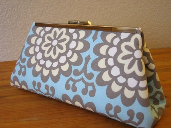 Bridesmaids Clutch in Blue and White with Silver Clasp