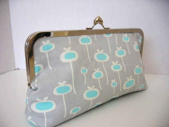 Sale Gift Clutch Handbag in Gray and Blue with Silver Clasp great for bridesmaids