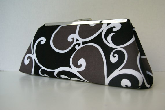 SALE- Black, Gray and White Bridesmaids Clutch in Whimsy Swirls with Silver Straight Clasp Frame