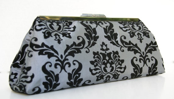 ON SALE Ready to ship  Silver and Black Clutch in Formal Damask Velvet and Black Satin