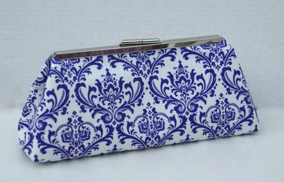 Purple Damask Handbag Clutch for Bridesmaids or Gift Custom Made To Order