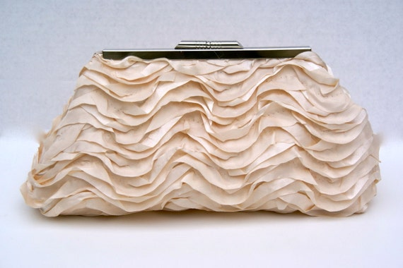 Champagne Satin Brides Clutch for Bride or Bridesmaids- Formal- Design your own