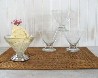 Ice Cream Parlor Bowls • Vintage Glass Dessert Cups • Soda Fountain, Sundae, Parfait • Retro Kitchen