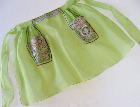 Vintage Half Apron, Lime Green Organza & Cotton, 1950s Handmade, Retro Kitchen Gift for Bride-to-be Cook or Mom