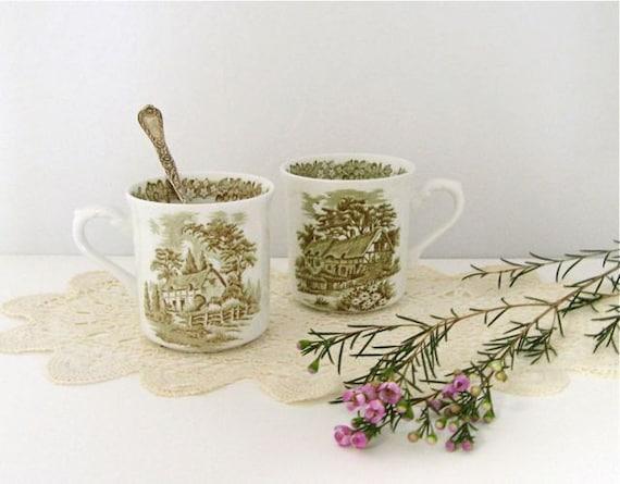 J&G Meakin Mugs . Vintage Set of 2. Olive Green Transferware . Cottage Kitchen . Coffee or Tea