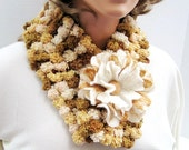 Fall color pompom scarf neckwarmer with flower felted brooch