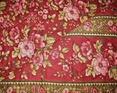 Classic Floral Stripe Pattern 2-Sided Pre-Quilted Fabric