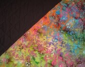 Dark Rainbow and Black Batik 2-Sided Pre-Quilted Fabric