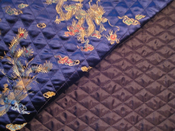 Satin Brocade Deep Blue Chinese Dragon Print Pre-Quilted Fabric