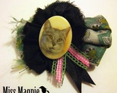 Vintage Silk Cat Brooch