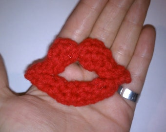 Crochet Kissing Lips, ready to ship