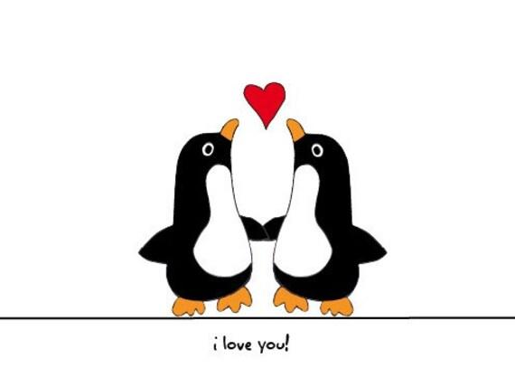I Love You Card - Penguin Love
