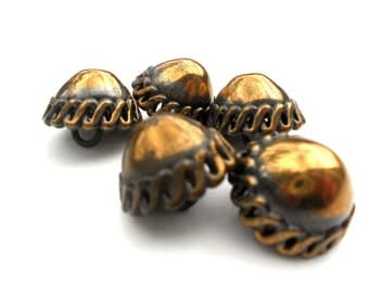 """Vintage Brass Dome Buttons 3/4"""""""