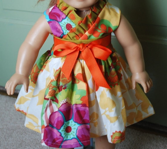 Waldorf doll Summer style kyoko dress in Anna Maria Horner Garden Party also for American girl