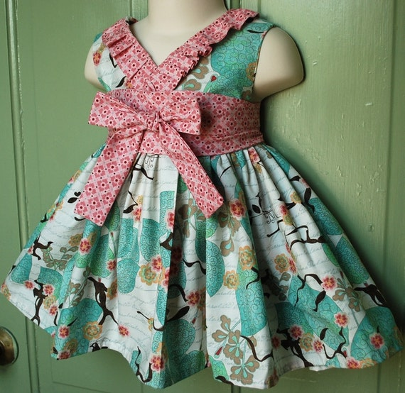 Sweet Kyoko dress with ruffle accent in asian inspired Moda Blush