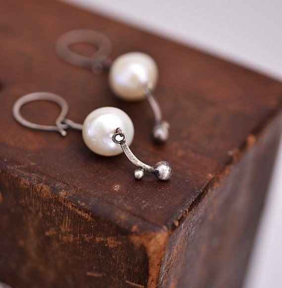 The stillness still...pearl earrings with handmade sterling silver detail