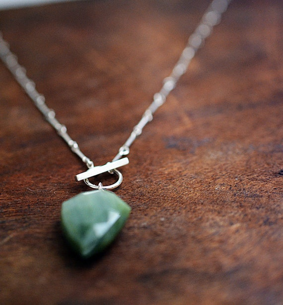 green as...chrysoberyl pendant necklace in sterling silver with front toggle