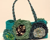 flower bag in turquoise, blues, and greens