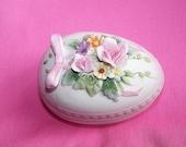 RESERVED for MICHELLEMCPHERSON1 Vintage Lefton China Hand Painted Lavendar Egg