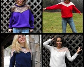Lace Sweatshirt Your Very Own MADE TO ORDER Any Color