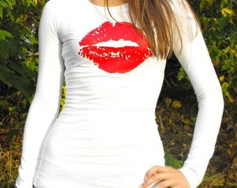Lips Tshirt Long Sleeved Womens Lipstick Kiss Valentines Day Screenprint SMALL MEDIUM LARGE