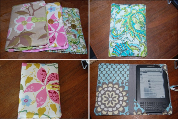 Design your own eReader padded Cover Kindle Cover Nook HD Nook Touch 70 fabrics One cover to Protect and Read