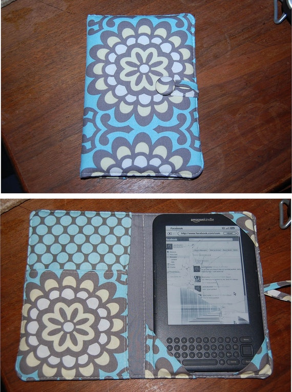 READY to ship Kindle 2 Cover Case eReader Cover Padded  Book Style Cover Amy Butler Wallflower Sky outside