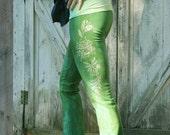 vintage wallpaper evergreen roll down yoga pants