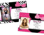 Pretty In Polka Dots or Zebra Print Minnie Mouse Photo Birthday Invitation - digital design only Mickey Mouse