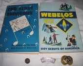 Vintage Webelos Boy Scout Book  cub scout songbook   Webelos Metal Pin  Bobcat Pin  Scarf Holder