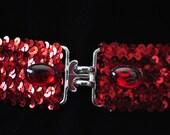 Cross Lock Ruby Sequin Waist Belt