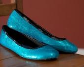 Size 6 Teal Tiffany Blue Sequin Ballet Slipper Flats