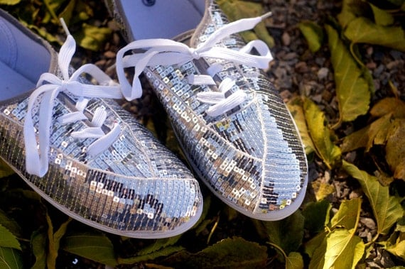 Size 8 CVO Silver Sequin Sneakers