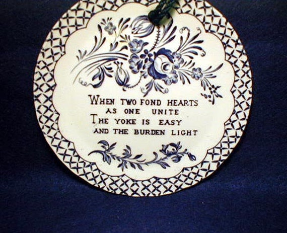 Crownford China  Wall Plate Poem  When Two Fond Hearts Unite
