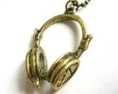 Antique Brass Headphone Necklace
