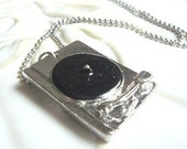 Record Player Necklace. Silver and Black Vinyl Player Pendant.