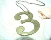 Antique Brass Number 3 Pendant Necklace