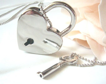 Sliver Heart Lock Key Necklace