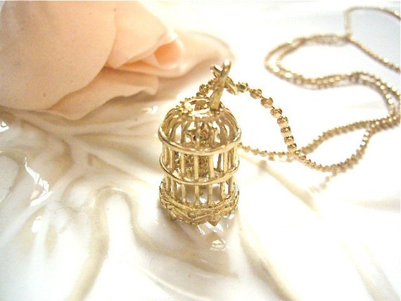 Golden Bird Cage Necklace