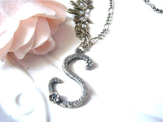 items similar to initial letter s pendant necklace on etsy
