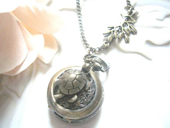 Sea Turtle Pocket Watch Necklace