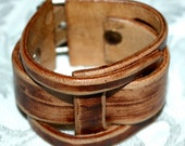 Leather Cuff Bracelet Custom Designed by Hand