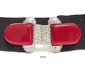 Art Deco Belt Red Glass and Rhinestones Buckle Vintage