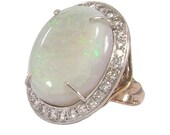 14K Opal Diamond Ring Platinum Top Art Nouveau Statement Ring