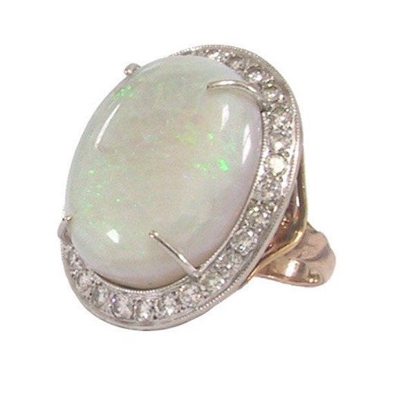 14K Opal Diamond Ring Platinum Top Art Nouveau Statement Ring