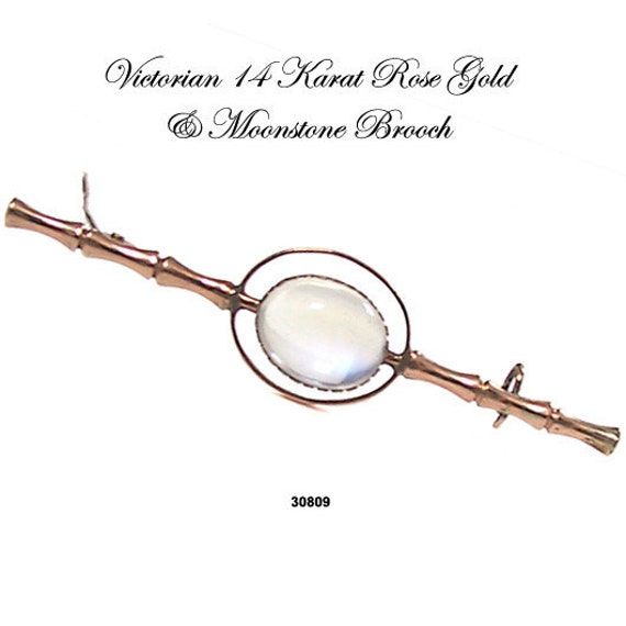 Antique 14K Victorian Moonstone Pin