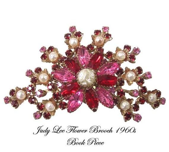 Vintage Judy Lee Flower Pin Brooch Book Piece Pink Rhinestones Faux Pearls Flower Brooch