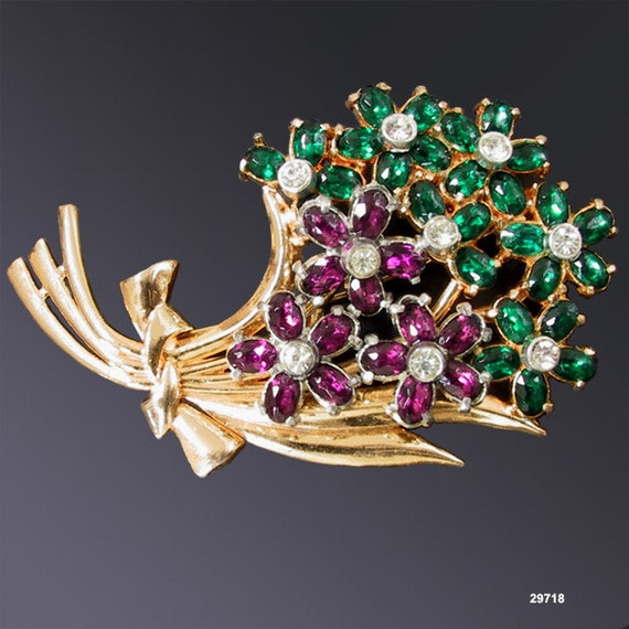 Vintage Flower Pin Brooch Purple Green Gold Plated 1940s Corsage Pin