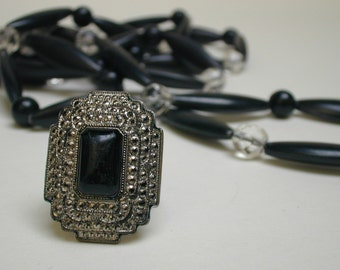 vintage faux rhinestone ring and flapper style necklace