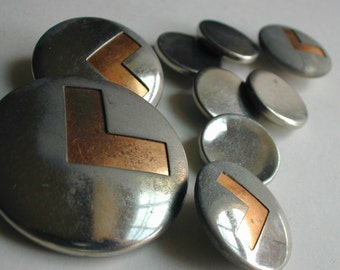 9 vintage chrome silver tone buttons
